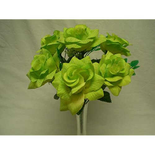 Lime green flowers amazon 2 bushes lime open rose artificial silk flowers 14 bouquet 6 39a lim mightylinksfo Images