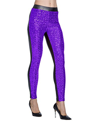 Purple Sequin - Lotsyle Women's Rose Shiny Sequins Faux Leather Leggings Pants Stretch Long Trousers Purple-M