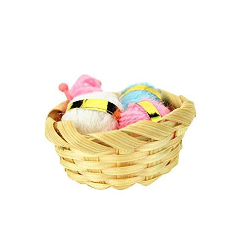ruiycltd Cute Realistic Knitting Wool Basket Mini Simulation Model Dollhouse Decor Gift ()