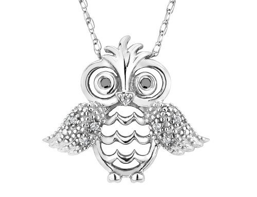 Owl Pendant Necklace in Sterling Silver with Chain and Accent Diamonds