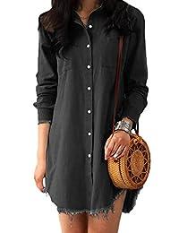 Gueuusu sandanper Women Long Sleeve Tunic Dress Denim with Pockets (S, Black-Gray)