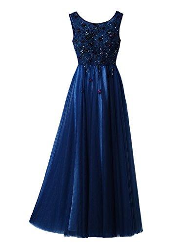 Spitze O LuckyShe Tüll Elegant Lang Damen Blau mit Ballkleid Ausschnitt Ärmellose Abendkleider wrrSnvq05x