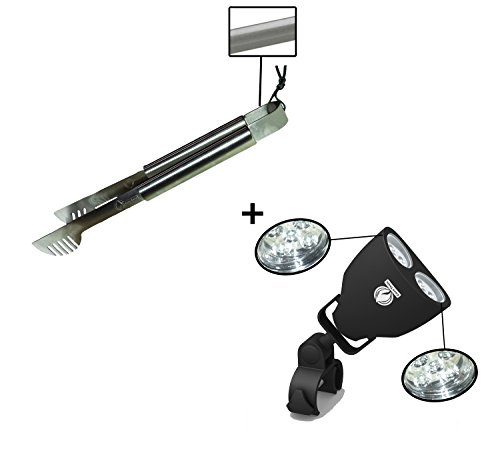 Grill Tong + Barbecue Light - LUXURIOUS GIFT BOX - Upgraded Handle Mount Fits Round & Square Bars on Weber & Big Green Egg BBQ Pits - 10 LED for Grilling at Night - Best Lighting Accessories