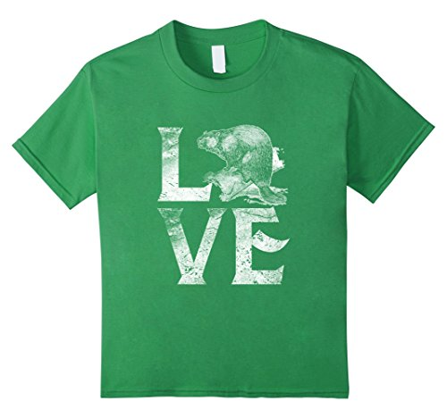 Kids Beaver Silhouette T-Shirt Love Beavers Tee Wildlife Gifts 8 Grass - Wildlife Beaver