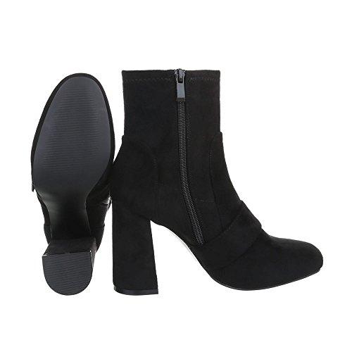 Ital-Design High Heel Stiefeletten Damenschuhe High Heel Stiefeletten Pump High Heels Stiefeletten Schwarz LL1702