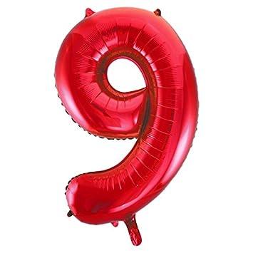 Ballon G/éant 55850 Num/éro 0 86 cm Rouge Unique Party