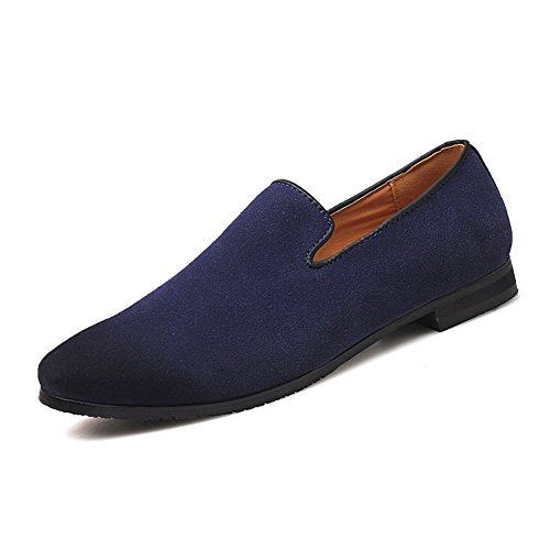 Men's Slip-on Loafers Dress Shoes PU Leather Noble Comfortable Pure Color Fashion Driving Boat Moccasins Blue (Navy Suede Moccasins)