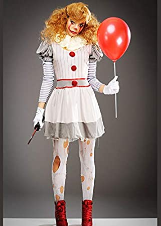 Magic Box Disfraz de Payaso Gris Halloween It Womens Costume S/M ...