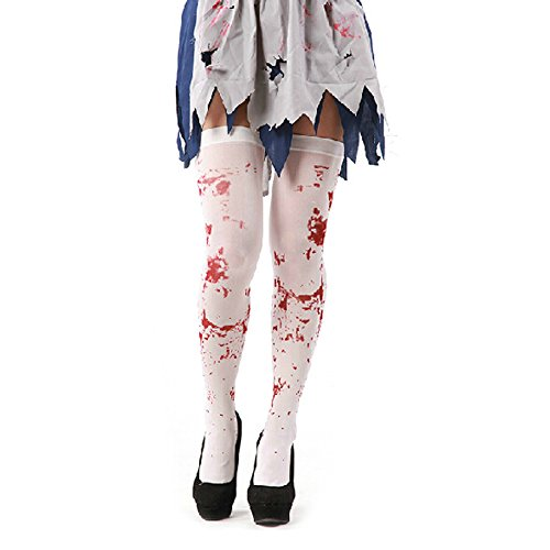 IDS Home White Blood Stained Stocking Zombie Halloween Fancy Dress Costumes Party Accessories