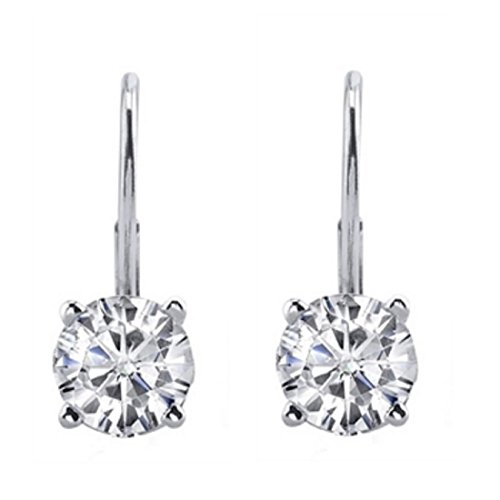 0.30 CTW Round White Diamond Leverback Earrings in 14K White Gold