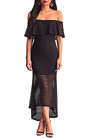 Melory Women's Sexy Black Sheer Mesh Striped Overlay Slinky Evening Party Dress Off Shoulder Hi-low - Sexy Black Slinky
