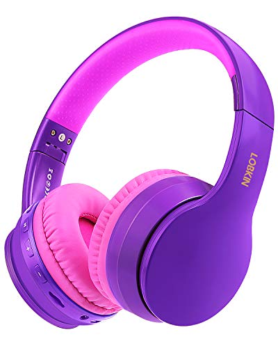 Wireless Bluetooth Headphones, Lobkin Over-Ear Stereo Foldable Headphones,Hi-Fi Stereo Headset With Microphone, Supports Hands-Free Calling and Wired Mode for Cell Phone TV PC Laptop (Purple)