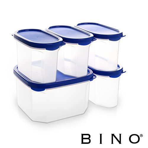 BINO 10-Piece Airtight Stackable Kitchen Storage Container Pantry Set, Blue
