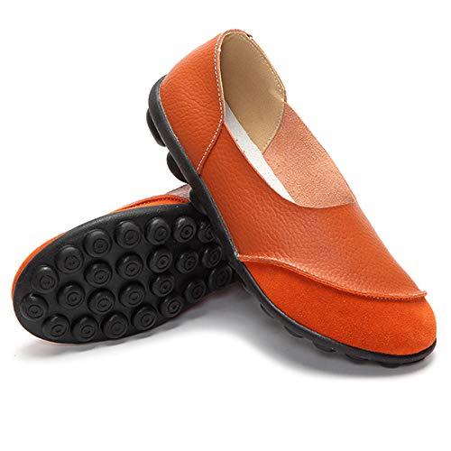Orange Nouveau En Littéraire Yxlong Avec Plat Peu Printemps Chaussures Et Bouche À Des Pour Profonde Souple Femmes Nubuck Mis Cuir Automne Frottement kiuPZOX
