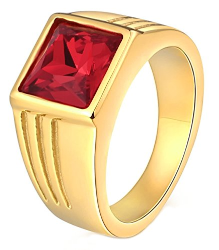 Aokarry Stainless Steel Ring for Men Father Gift Class Ring CZ Stone Princess Cut 10MM Gold Red Size 9