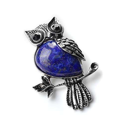- MANIFO Vintage Crystal Owl Brooch Pin Gemstone Breastpin Women Party Dresses Wedding Jewelry (Dyed Lapis Lazuli)