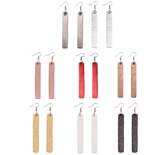 Lightweight Bar Leather Earrings for Women Long Statement Faux Leather Dangle Earrings for Girls 8 Pairs (Catching Eye Jewelry Earring)