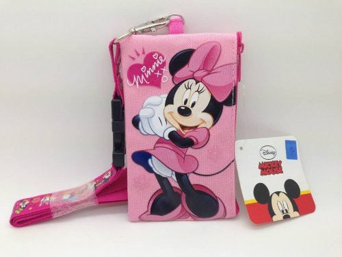 Badge Chain Wallet (Disney Mickey Minnie Cars Id Ticket Iphone Key Chain Badge Holder Wallet Collection (minnie))