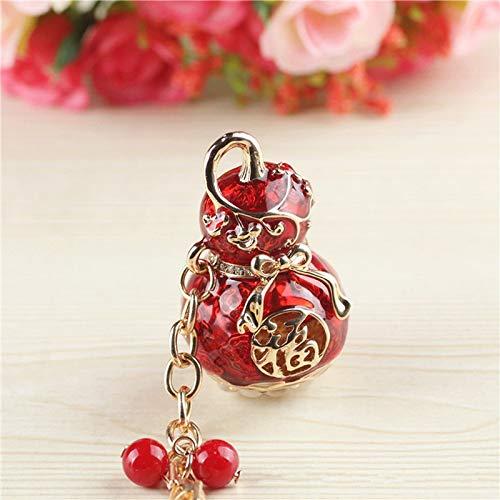 UDBOK Keychain New hyacinth key chain male alloy car key ring rhinestone hyacinth keychain China wind key pendant,Red