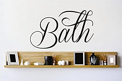 Peel & Stick Wall Decal Sticker : Bath Lettering Tub Bathroom Quote Home Vinyl Wall Decal Color: Black Size: Decor Bedroom Bathroom Living Room Picture Art Vinyl Mural - DISCOUNTED SALE 22 Colors Available – Size: 12 Inches X 12 Inches