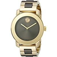 MOVADO Bold Grey Sunray Dial Yellow Gold and Grey Ion-plated Stainless Steel Band Women's Quartz Watch