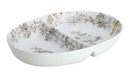 BonJour Dinnerware Fruitful Nectar Porcelain Stoneware 11-Inch Divided (Blue Divided Dish)