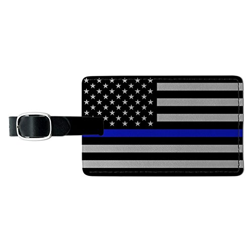 Thin Blue Line American Flag Rectangle Leather Luggage Card Carry-On ID Tag ()