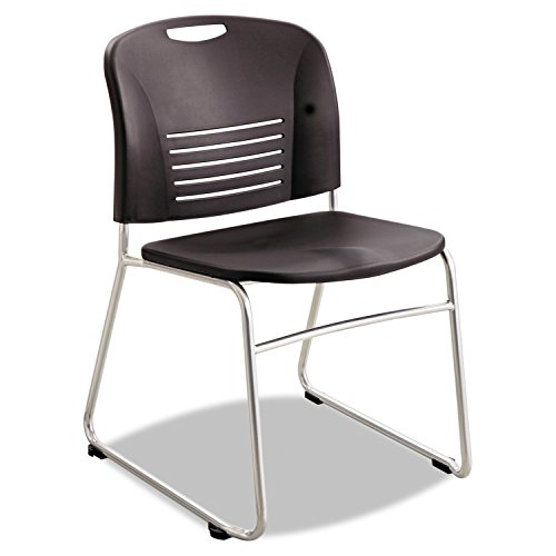 (Safco Products Vy Stack Chair 4292BL, Black, Rated up to 350 lbs, Sturdy Steel Frame, Polypropylene Shell)