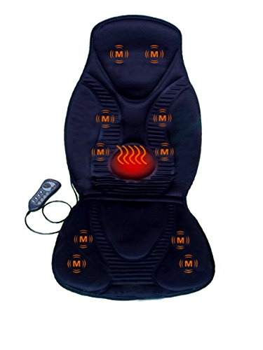 FIVE S FS8812 10-Motor Vibration Massage Seat Cushion with Heat – Neck – Shoulder – Back & Thigh Massager with Heat (Black)