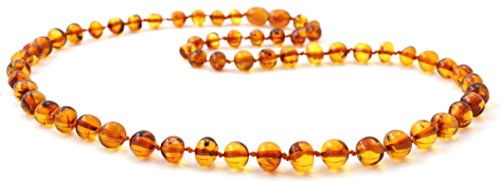 Baltic Amber Necklace for Adults - Size 17.5 inches (45 cm) - Suitable for Women and Men - Polished Cognac Amber Beads - BoutiqueAmber (17.5 inches, Cognac)