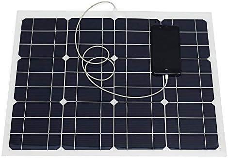 ソーラーパネル ソーラーチャージャー パネルを充電30W 12V / 5V DCのUSBソーラーパネルワニ口クリップ単結晶ソーラー 蓄電/キャンピングカー充電に最適 (Color : Black, Size : 5V)