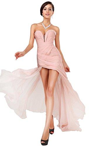Snowskite Women's Sexy Sweetheart Chiffon Long Evening Prom Party Dress Pink (Cinderalla Dress)
