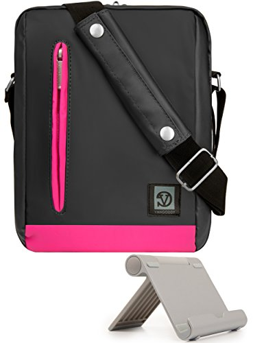 VanGoddy Multi-Angle Stand and Pink Trim Anti-Theft Cross-Body Tablet Messenger Bag for Lenovo Smart Tab P10 M10, Tab M10 E10 4 10 4 8 E8 V7