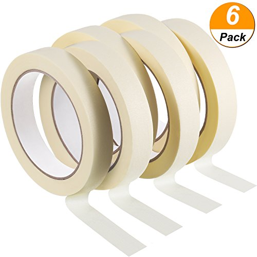 Jovitec 6 Pack 3/ 4 Inch by 33 Yards Masking Tape, Easy to Peel and Tear for DIY, Painting, Decorating, Crafts, Car Spraying