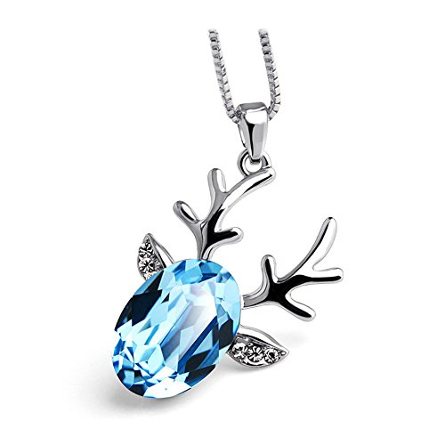 Winter's Secret Sweet Christmas Antlers Diamond Cut Style Sea Blue Crystal Silver Pendant Necklace Blade Combo Clam