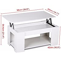 White Modern Wood Lift Top Coffee / End Table with Storage Space Living Room Furniture