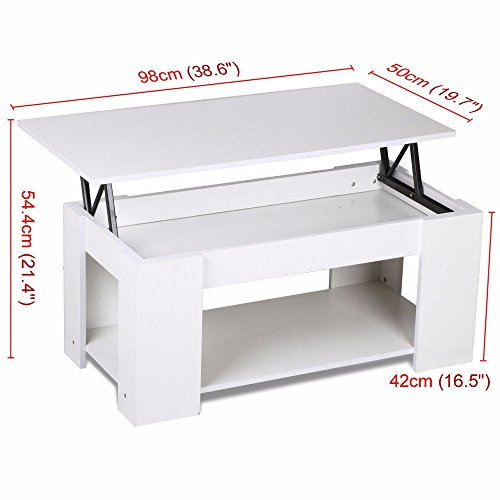 White Modern Wood Lift Top Coffee / End Table with Storage S