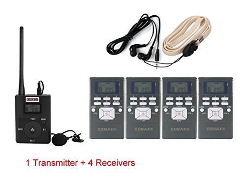 1 Transmitter 4 Receivers (EXMAX 60-108MHz Portable DSP Stereo Wireless Headsets FM Radio Broadcast System for Tour Guide Teaching Meeting Training Travel Field Interpretation - 1 Transmitter and 4 Receivers Gray)