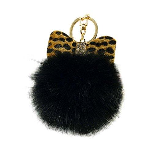 Bowknot Rabbit (Iuhan Fashion Fluffy Faux Rabbit Fur Ball Bowknot Charm Car Keychain Handbag Key Ring (C))