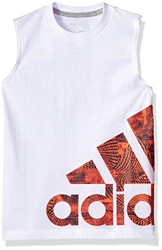 (adidas Boys' Little Active Tank Top, White, 5)
