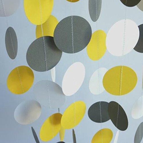MOWO Paper Garland Circle Dots Hanging Decor,2'' in Diameter,20 feet(yellow,grey,white,3pc)]()