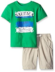 Nautica Little Boys' Two Piece Graphic Tee with Solid Bottom