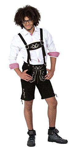 Almwerk Herren Trachten Lederhose kurz Modell Hipster, Farbe:Schwarz;Lederhose Größe Herren:58