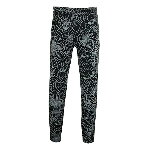 Just One Women's Halloween Spider Web Print Leggings, Medium, Black