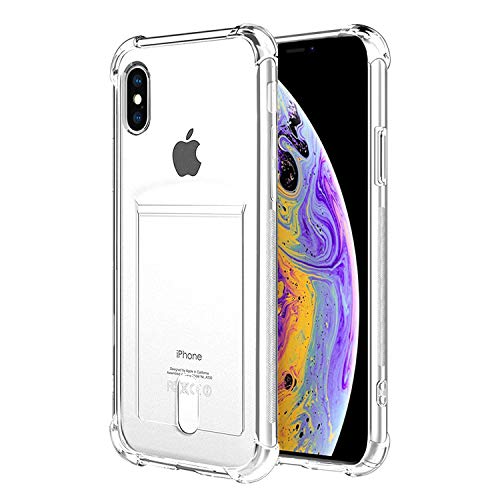 ANHONG iPhone X,iPhone Xs Clear Case with Card Holder, [Slim Fit][Wireless Charger Compatible] Protective Soft TPU Shock-Absorbing Bumper Wallet Case with Soft Screen Protector