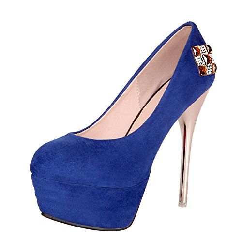 Latasa Dames Sexy Platform Stiletto Hoge Hakken Jurk Pumps Blauw