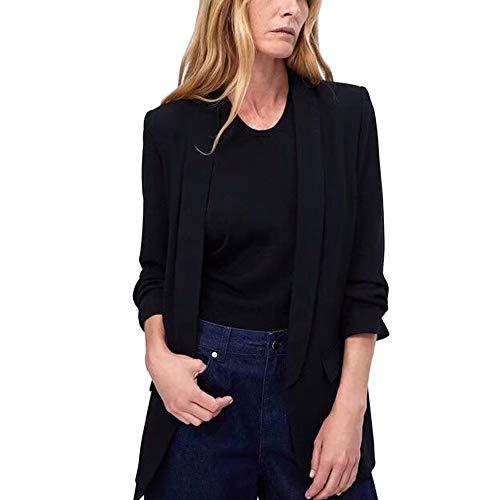Lrud Simple col chale Revers des Femmes Manches Longues Bonbons de Couleur Veste d'affaires Costumes Noir 5