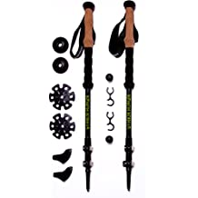 Hiker Hunger 100% Carbon Fiber Trekking Poles – Ultralight & Collapsible with Quick Flip-Lock, Cork Grips, & Tungsten Tips