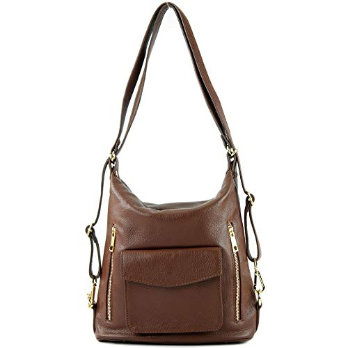 Damenrucksack T174 Ital en modamoda de cuir Brown sac 6wEnHggqWz