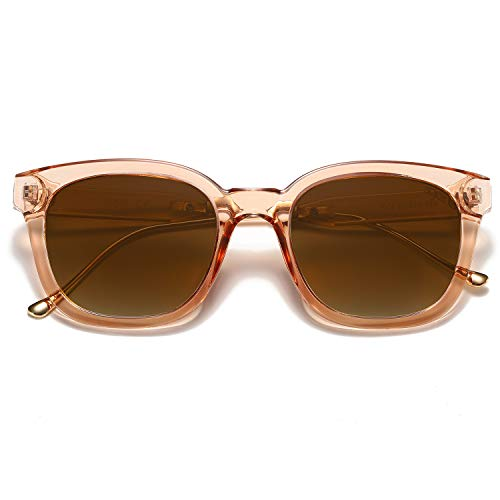 SOJOS Classic Square Polarized Sunglasses Unisex UV400 Mirrored Glasses SJ2050 with Brown Frame/Brown Lens